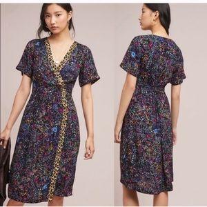 Anthropologie Maeve leopard floral dress